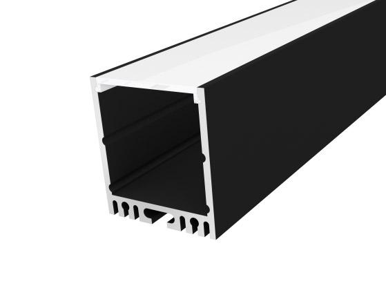 Large Square Profile 35mm Black Finish & Semi Clear Cover (1M)