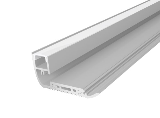 Stair Nosing Profile 65mm Silver Finish & Opal Cover (1M)