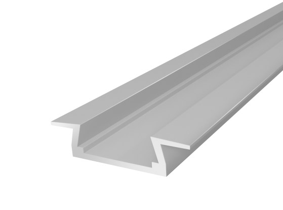 Slim Recessed Profile 15mm Silver Finish & Opal Cover (2M)