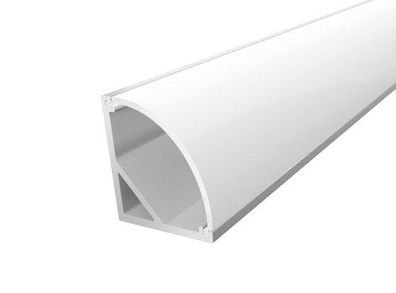 Slim Corner Profile 16mm Silver Finish & Opal Cover (2M)