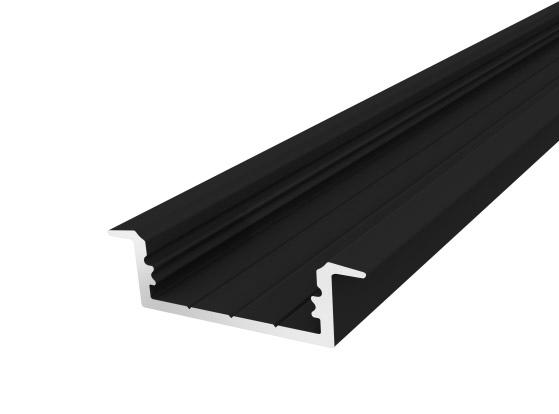 Slim Recessed Profile 23mm Black Finish & Semi Clear Cover (2M)