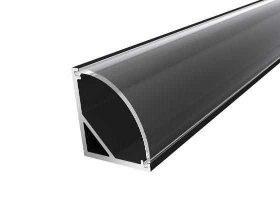 Slim Corner Profile 16mm Black Finish & Clear Cover (1M)