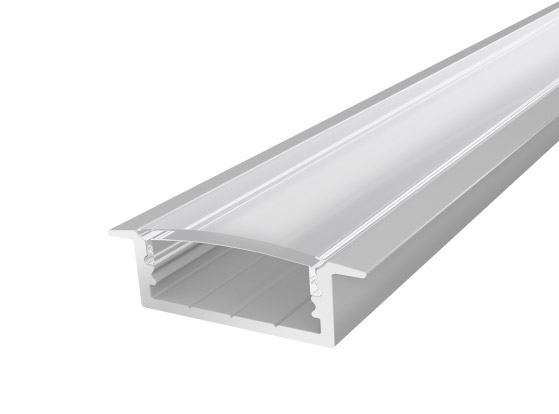 Slim Recessed Profile 23mm Silver Finish & Clear Cover (1M)