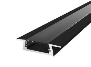 Slim Recessed Profile 15mm Black Finish & Clear Cover (1M)