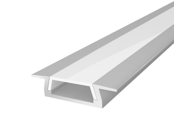 Slim Recessed LED Aluminium 15mm Silver 2M with a Semi Clear Diffuser for LED Strip Lighting