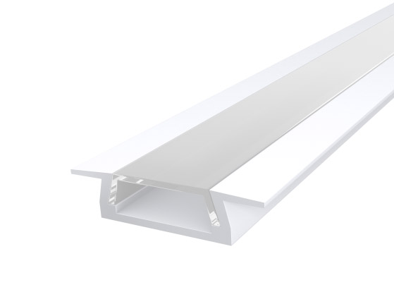 Slim Recessed Profile 15mm White Finish & Clear Cover (1M)