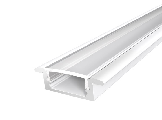 Slim Recessed Profile 17mm White Finish & Clear Cover (2M)
