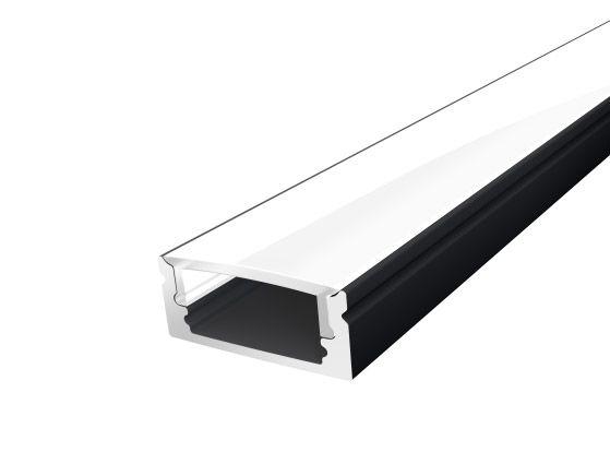 Slim Surface Profile 17mm Black Finish & Opal Cover (1M)