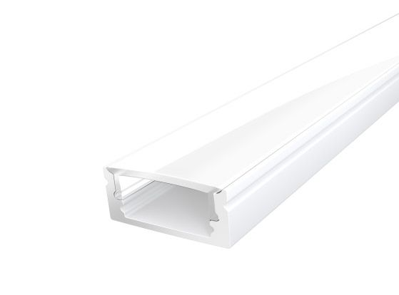 Slim Surface Profile 17mm White Finish & Opal Cover (1M)
