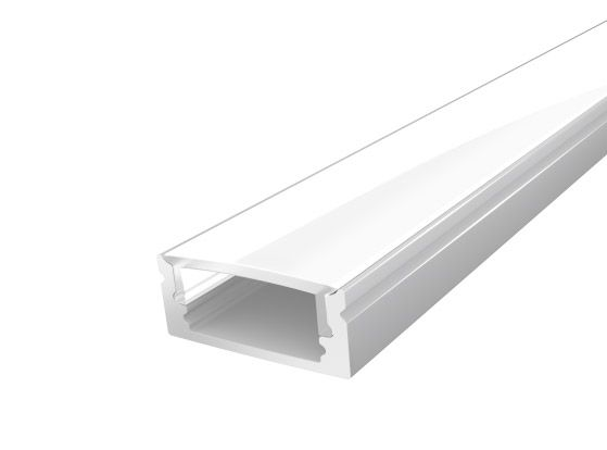 Slim Surface Profile 17mm Silver Finish & Opal Cover (1M)