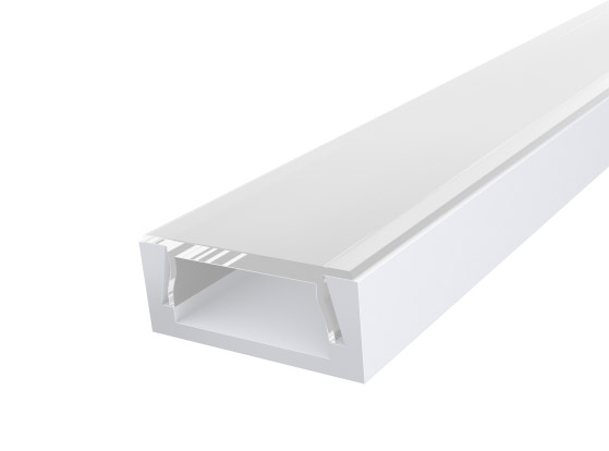 Slim Surface Profile 15mm White Finish & Clear Cover (2M)