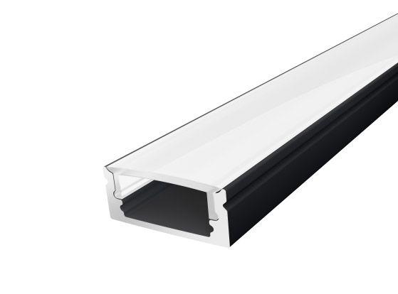 Slim Surface Profile 17mm Black Finish & Semi Clear Cover (1M)