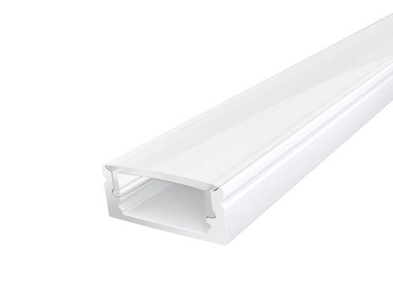 Slim Surface Profile 17mm White Finish & Semi Clear Cover (2M)