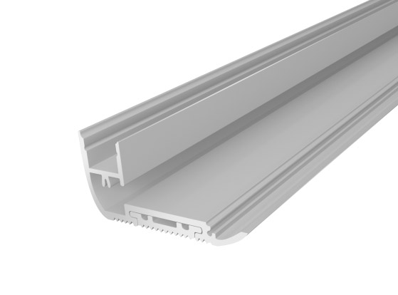 Stair Nosing Profile 65mm Silver Finish & Clear Cover (2M)