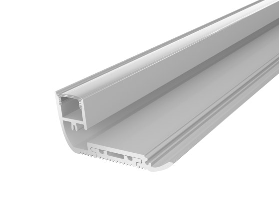Stair Nosing Profile 65mm Silver Finish & Clear Cover (1M)