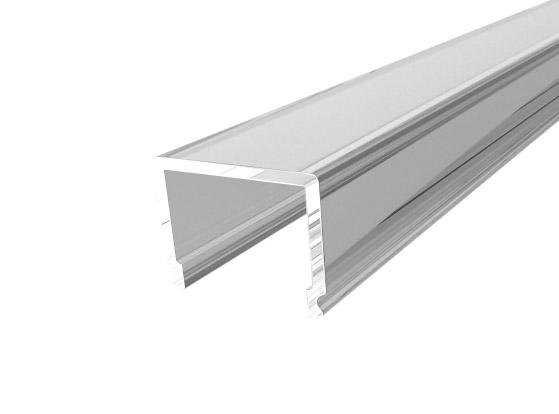 Deep Square Profile 26mm Silver Finish & Clear Cover (1M)