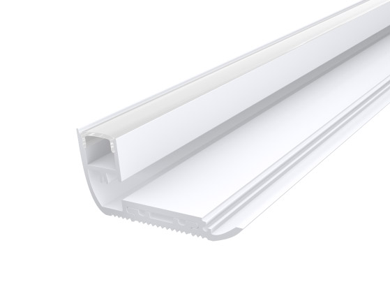 Stair Nosing Profile 65mm White Finish & Clear Cover (1M)