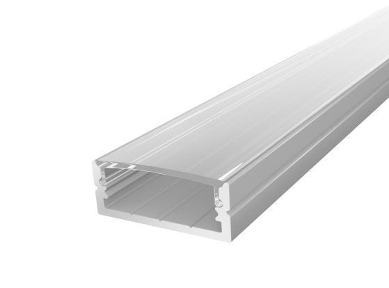 Wide Surface Profile 24mm Silver Finish & Clear Cover (2M)
