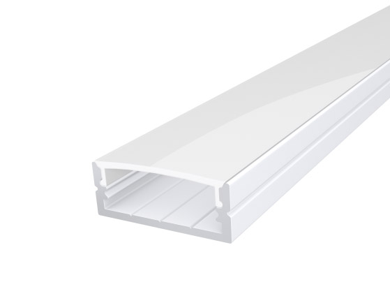 Wide Surface Profile 24mm White Finish & Semi Clear Cover (2M)