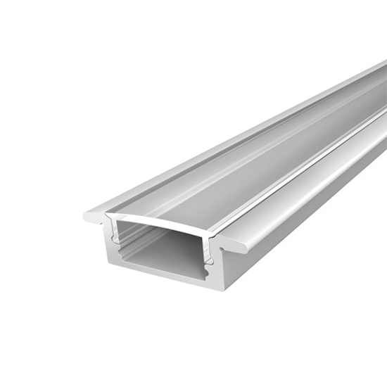 Slim Recessed LED Profile 17mm 2M With Clear Cover Silver