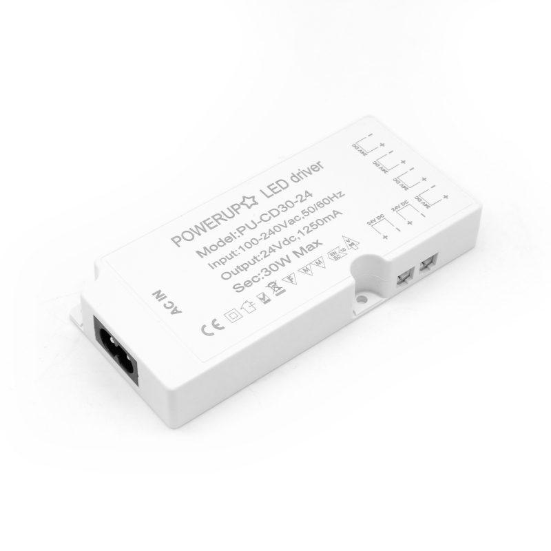 30W 24V 6 Output Cabinet LED Driver Diagonal View