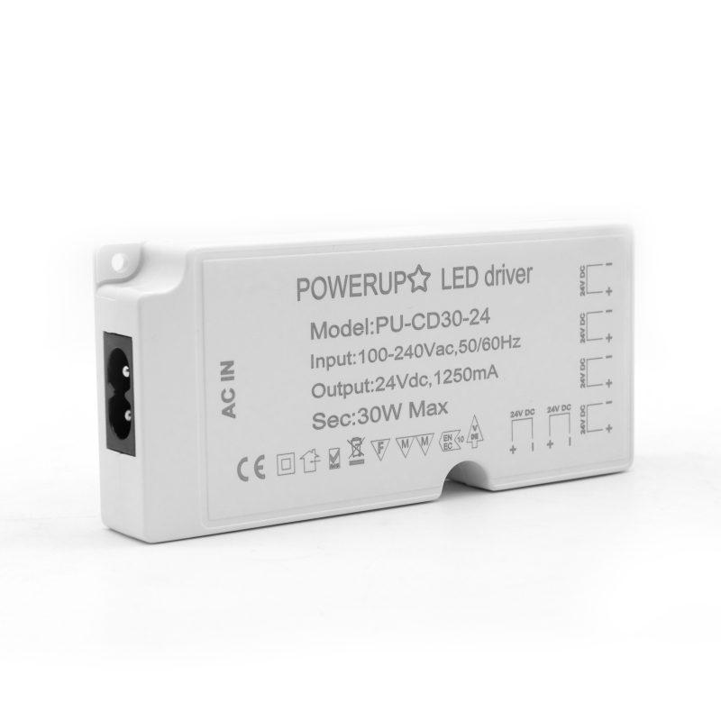 30W 24V 6 Output Cabinet LED Driver Power IEC Side