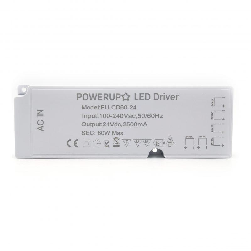 60W 24V 6 Output Cabinet LED Driver Front