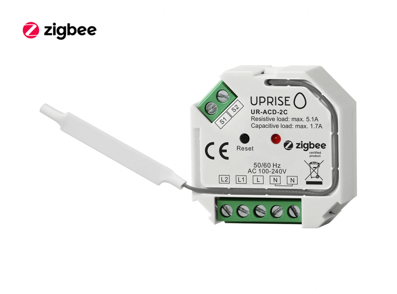 ZigBee 2CH 2-Gang In-Wall Switch Front View 2
