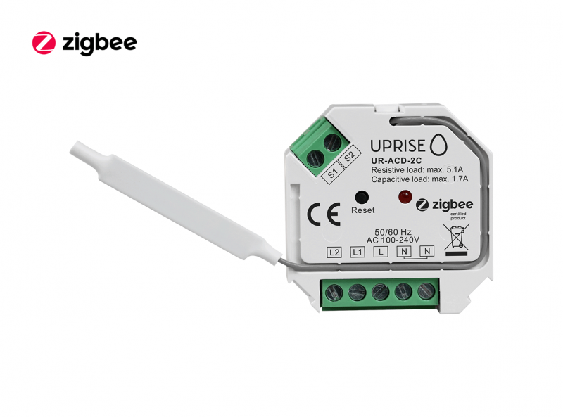 ZigBee 2CH 2-Gang In-Wall Switch Front View