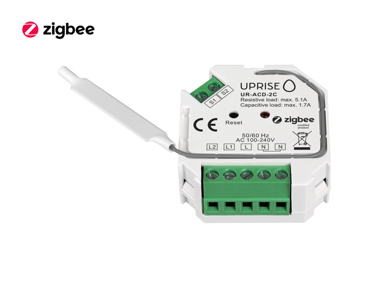 ZigBee 2CH 2-Gang In-Wall Switch Front View 3