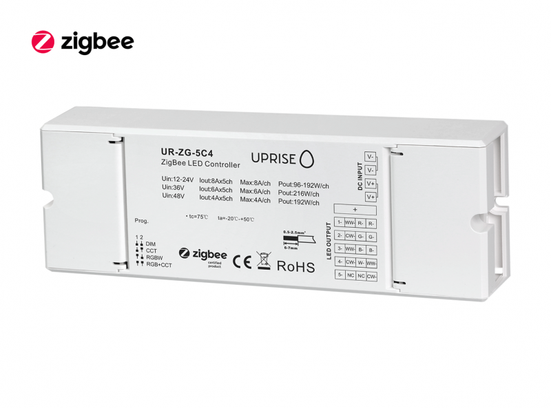 ZigBee 5CH LED Controller Receiver For RGBCW (12V-48V) Diagonal View 4 - UR-ZG-5C4-01