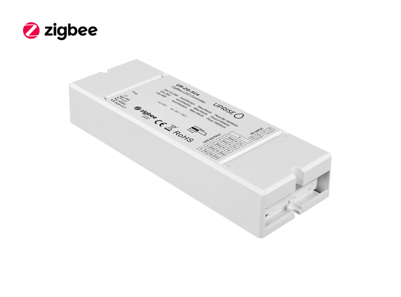 ZigBee 5CH LED Controller Receiver For RGBCW (12V-48V) Diagonal View 2 - UR-ZG-5C4-03