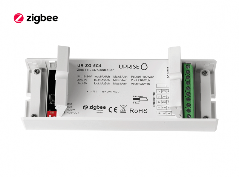 ZigBee 5CH LED Controller Receiver For RGBCW (12V-48V) Open - UR-ZG-5C4-06