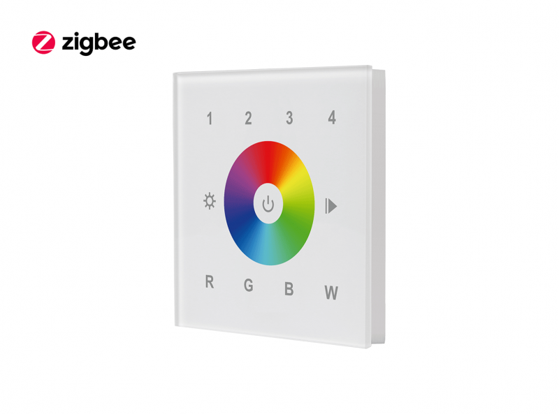 Zigbee Glass RGBW Touch Dimmer Wall Panel Front View 2