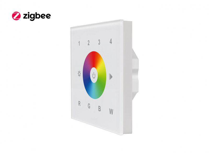 Zigbee Glass RGBW Touch Dimmer Wall Panel Front View 3