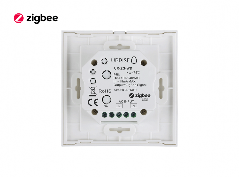 Zigbee Glass RGBW Touch Dimmer Wall Panel Back View