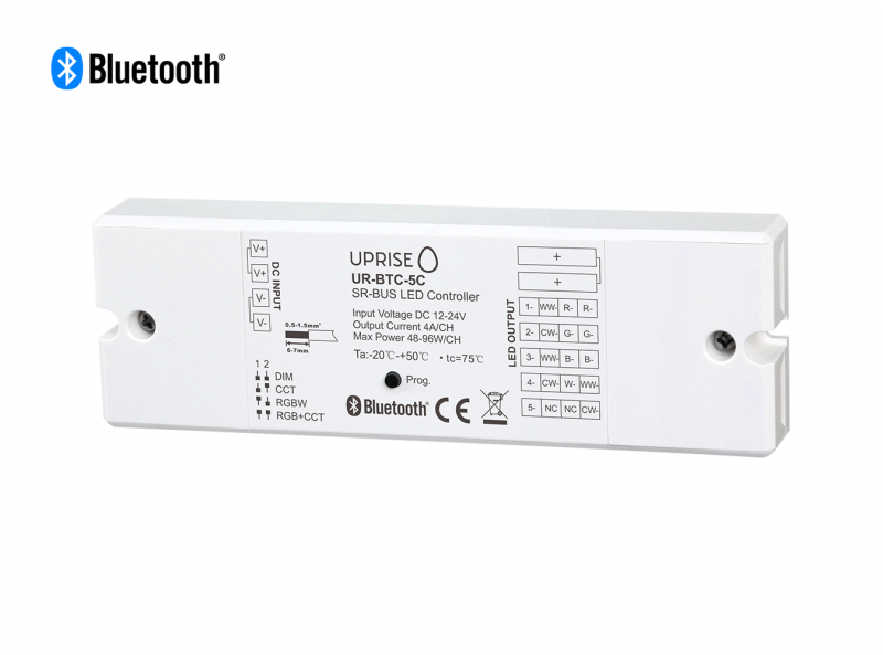 Bluetooth 5CH LED Controller Receiver For RGBCW (12V-24V) Overview 3 - UR-BTC-5C