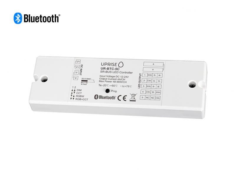 Bluetooth 5CH LED Controller Receiver For RGBCW (12V-24V) Overview 2 - UR-BTC-5C