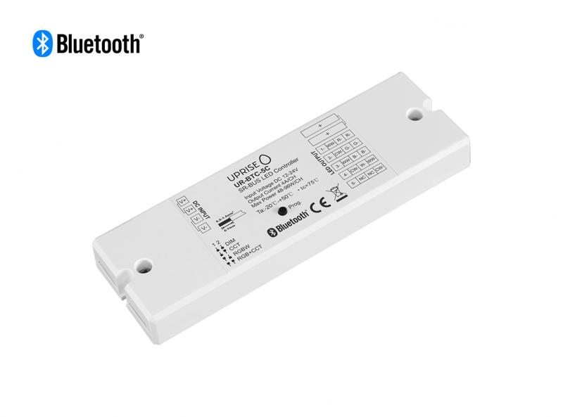Bluetooth 5CH LED Controller Receiver For RGBCW (12V-24V) Diagonal - UR-BTC-5C
