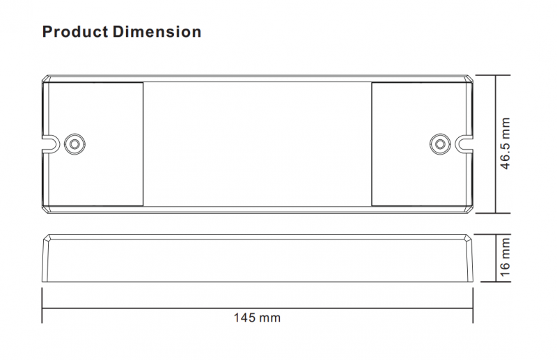 Dimensions for Bluetooth 5CH LED Controller Receiver (12V-24V) Open - UR-BTC-5C