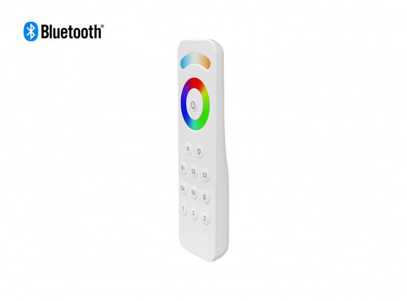 Bluetooth RGBCW (RGB + CCT + DIM) LED Remote Front View 3