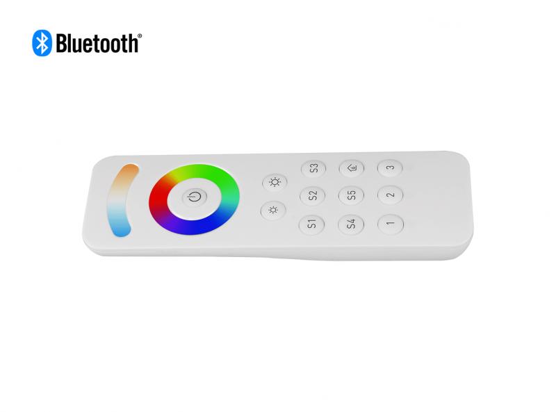 Bluetooth RGBCW (RGB + CCT + DIM) LED Remote Horizontal View