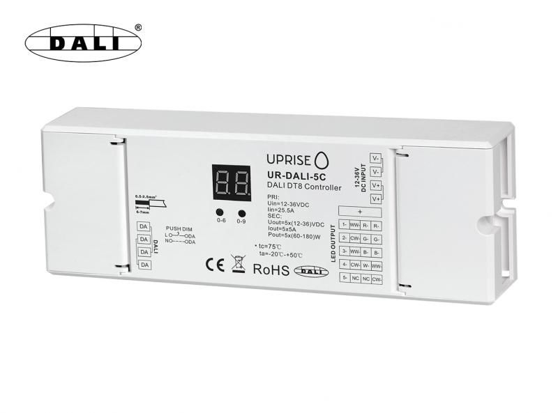 DALI 5CH LED DT8 Dimmer For RGBCW (12V-36V) Diagonal Overview
