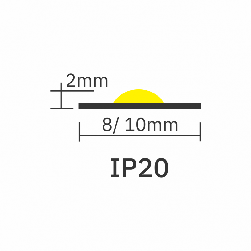 IP20 rating icon for 8mm-10mm Seamless COB LED Tape PRO 12V 1280px