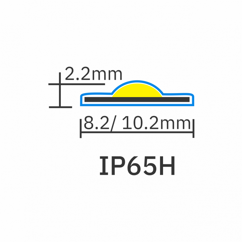 IP65 rating icon for 8.2mm-10.2mm Seamless COB LED Tape 5W PRO 12V 1280px